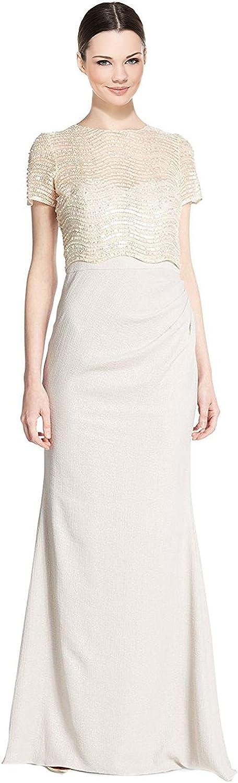 Badgley Mischka Mischka Sequined Illusion Bodice Short Sleeve Evening Gown Dress  Sparen Sie 50% -75%!
