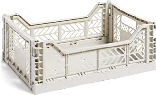 HAY Colour Crate M 507671 Caisse de transport pliable en polypropylène Gris clair Hauteur 14,5 cm Profondeur 30 cm Longueu...