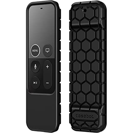 Fintie Protective Case for Apple TV 4K / HD Siri Remote (1st Generation) - Honey Comb Lightweight Anti Slip Shockproof Silicone Cover for Apple TV 4K 5th / 4th Gen Siri Remote Controller, Black