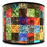 Royal Designs Modern Trendy Decorative Handmade Lamp Shade - Made in USA - Colorful Square Patchwork Design -...