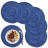 Manteles Individuales Redondos, 6 Piezas, fáciles de Limpiar, Resistentes al Calor, para Fiestas, reuniones en el hogar, Mesa de Comedor de Cocina,36×36CM(Azul)