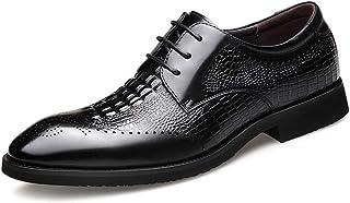 Chaussures en cuir d'affaires pour hommes,Chaussures de robe de banquet de fête de travail Modèle de crocodile Brocketwear...