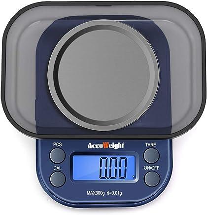 ACCUWEIGHT Balance de Poche de Precision Électronique, Balance de Bijoux, Écran LCD Rétroéclairé, 300g/0.01g, Bleu