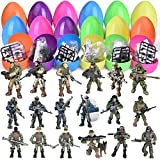 Fun Little Toys 18 Pcs Easter Eggs Prefilled with Army Men and Elite Force Army Ranger Action Figures, Easter Basket Stuffers, Easter Egg Fillers