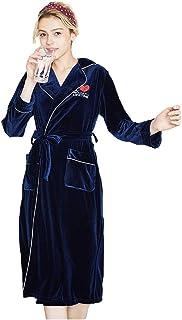 e1cbe8744318d DSJJ Peignoir Femme Velours Robes de Chambre et Kimonos Polaire Chaud Long  Flanelle Peignoir de Bain