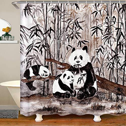 Cartoon Panda Fabric Bathroom Shower Curtain Cute Animal Waterproof Shower Curtains Boys Girls Bamboo Giant Panda Shower Curtain with Hooks Wildlife Style Vintage Curtain,180x210cm