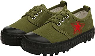 Unisex Kid's Army Green Camo Canvas Slip-on Shoes Anti-Slip Fashion Sneakers