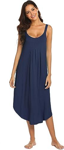 Ekouaer Women's Sleeveless Long Nightgown Summer Full Slip Sleep Dress Soft Nightshirt Chemise Sleepwear Lounge Dresses