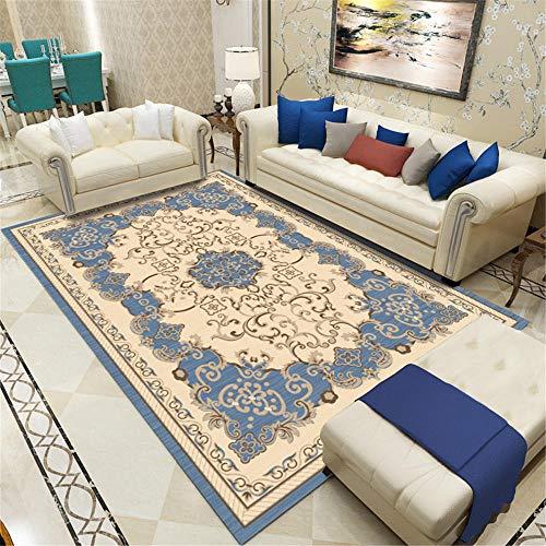 WQ-BBB Nicht Verblassen Dekoration Sofa Teppichen Braunblaue traditionelle Retro-Artdekoration Keine allergien Teppichboden 120X160cm