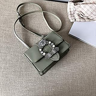 Adebie - Lady's Summer Messenger Bag 2019 New Diamond Shoulder Bag Small Handbag PU Flap Casual Women Metal Crossbody Bag Tote Bags Bolso Green []