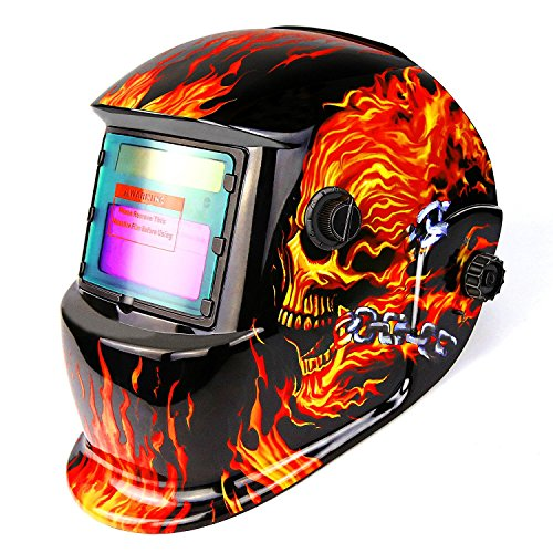 DESOON Shield Flaming Skull Design Solar Power Auto Darkening Welder Mask with Wide Lens Adjustable Shade Range 4/9-13 for Mig Tig Arc Weld Grinding Welder Mask. Buy it now for 30.99