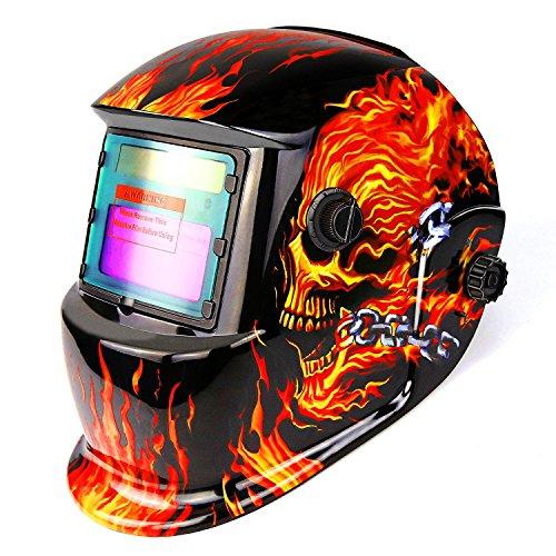 Casco de oscurecimiento automático accionado por energía solar del casco con la gama ajustable del tono 4/9-13 para el soldador de arco de Mig Tig Escudo de la máscara Diseño llameante del cráneo