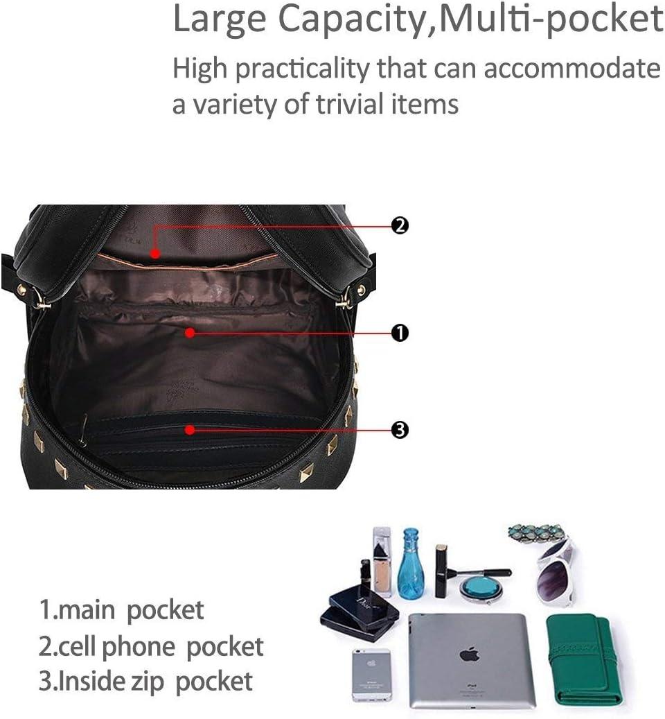 Sivias Sac à Dos-New Schoolbags Sac à Dos Femme Sacs à Main Sac de Voyage Cartable Métal Mode Cuir PU (Taille: 24cm * 16cm * 30cm) (Color : White Splice) White Splice