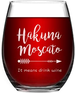 Wine Glass Hakuna Moscato It Means Drink Wine Funny Stemless Wine Glass 15 Ounce Wine Glass Perfect Birthday Gifts for Women Unique Gift Idea for Her Wife Mom Girlfriend Sister Grandmother Aunt