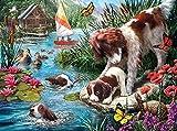N-L Kit dePintura alóleo de Bricolaje Kit dePintura por números para niños y Adultos, Perro, Cachorro, Pato, Mariposa