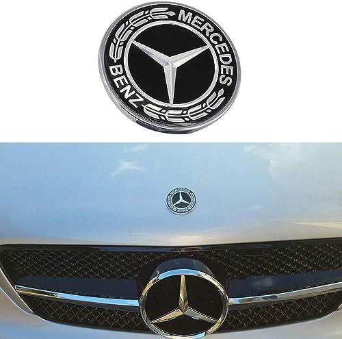 DJR Prime Flat Hood Star Emblem Badge for Mercedes Benz C E SL Fits All Class Ornament Logo (Classic Black)