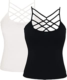 WONBURY Womens Solid Casual Criss Cross Front Tanks Top Camisole Vest