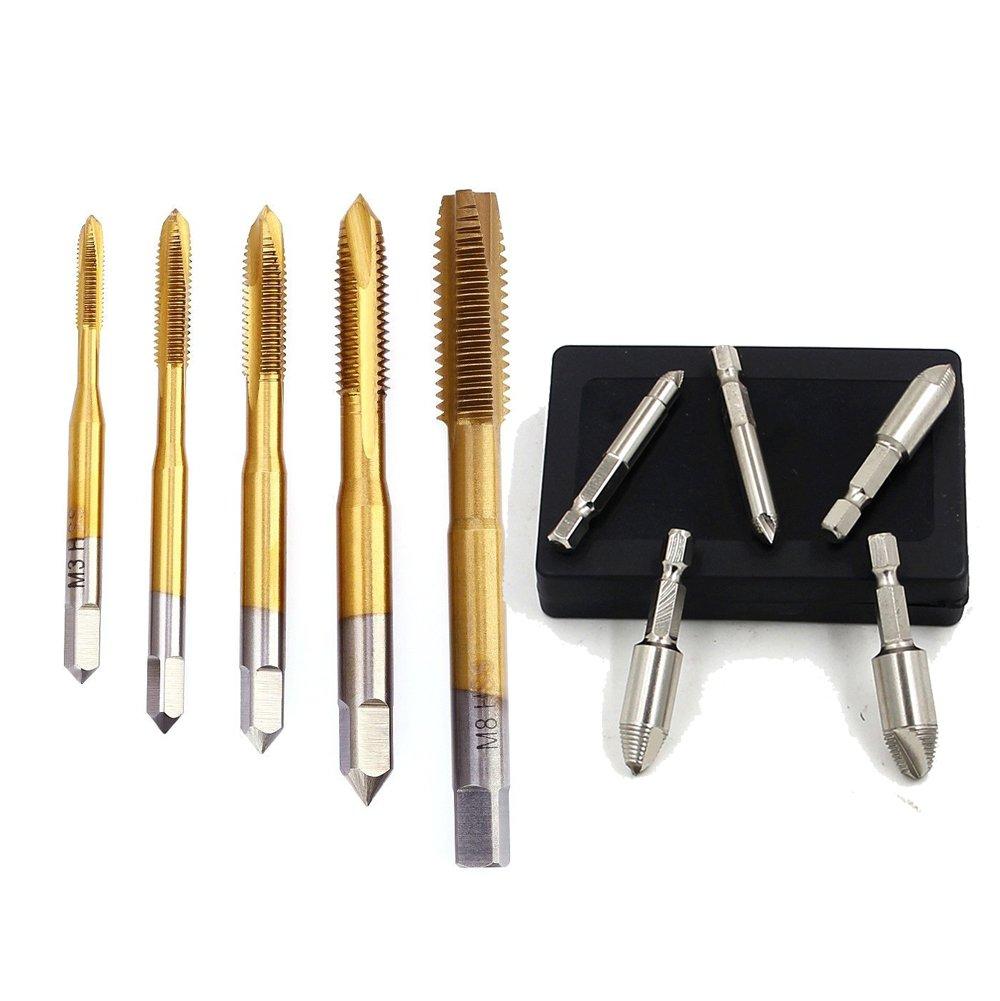 NUZAMAS Juego de grifos de rosca de mano para máquina métrica M3, M4, M5, M6, M8, herramienta de roscado y extractor de tornillos dañados