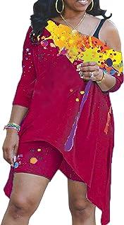 ملابس من قطعتين للنساء جرافيتي غير منتظم بدون أكتاف + بنطلون ضيق بدلات مثيرة كاجوال