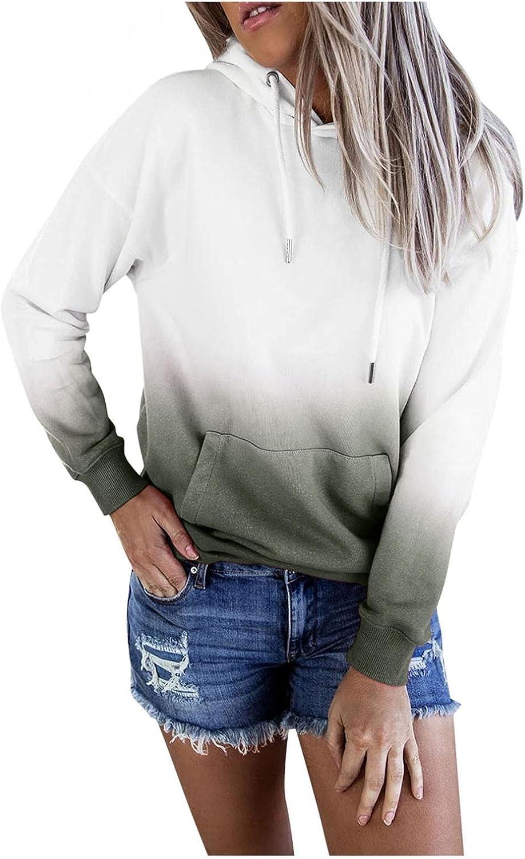 lucyouth Tie Dye Sweatshirts for Women Plus Size Long Sleeve Pullover Casual Gradient Pocket Tops Hooded Sweatshirt