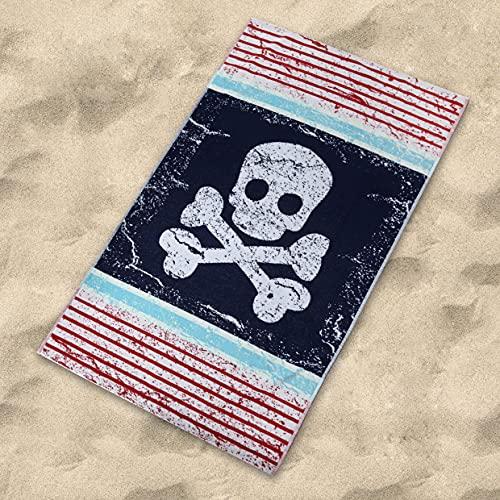 Sibiles - Toalla de Playa Algodón Terciopelo 100x170 cm Calavera Pirata Captain Marino ✅