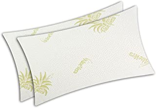V.I.P. Very Important Pillow V.I.P. - Par de Fundas de Almohada de Aloe Vera elásticas con Cremallera para Almohada de 50 x 80 cm, Fabricadas en Italia, poliéster, Blanco Tejido Jacquard bielástico