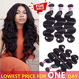 Colorful Queen Brazilian Virgin Hair Body Wave 3 Bundles Remy Human Hair Extensions 100% Unprocessed Brazilian Hair Weave Bundles for Women Natural Black Color 8 8 8 inch