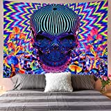 Galoker Psychedelic Tapestry Skull Tapestry Trippy Mushrooms Tapestry Colorful Abstract Tapestry Bohemian Hippie Tapestry Wall Hanging for Home Decor(H51.2×W59.1 inches)