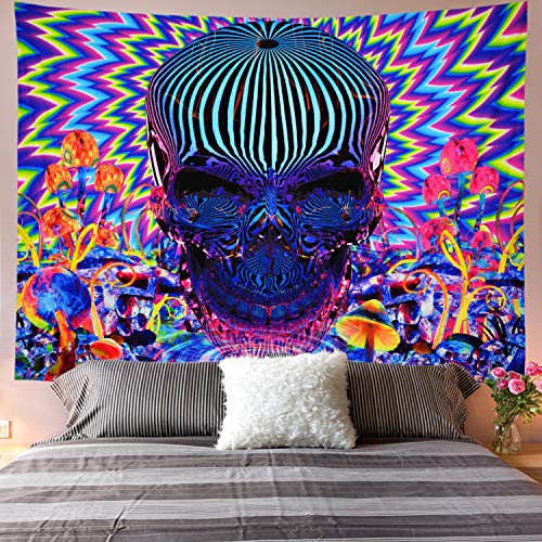 Galoker Psychedelic Tapestry Skull Tapestry Trippy Mushrooms Tapestry Colorful Abstract Tapestry Bohemian Hippie Tapestry Wall Hanging for Home Decor(H70.8×W92.5 inches)