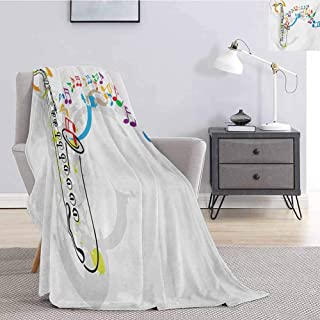 Luoiaax Jazz Music Luxury Special Grade Blanket Celebration Festival Theme Colorful Artwork with Music Notes and Saxophone Multi-Purpose use for Sofas etc. W57 x L74 Inch Orange Green Red