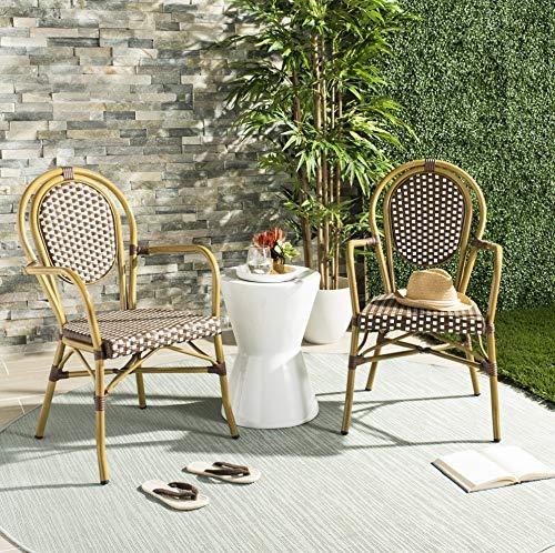 Safavieh SET2 Outdoor Collection Rosen Französischer Bistrostuhl Stapelstuhl braun/weiß