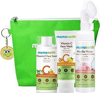 Mamaearth Natural Cleanse & Tone Kit with Free Bag( Vitamin C - Face Wash 100ml + Vitamin C Toner 200ml + Micellar Water F...