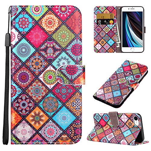 Coolden for iPhone 8 Plus Case Wallet Credit Card Holder Magnetic Closure Ethnic Totem Kickstand Lanyard PU Leather Slim Protective Front Folio Cover for 5.5 inch iPhone 8 Plus 7 Plus 6 Plus Colorful