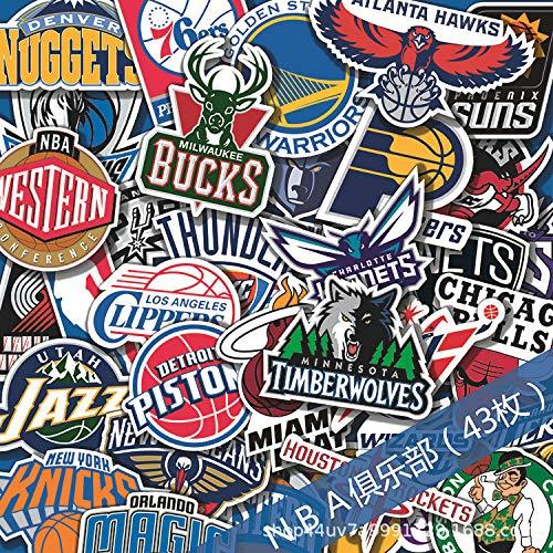 YCYY NBA Club Logo Car Sticker Box Cartoon Graffiti Tide Card Travel Skateboard Guitar Luggage Sticker