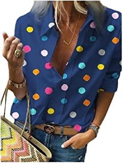 neveraway Women's Roll-Up Sleeve V Neck Casual Loose Polka Dot T-Shirt Tops