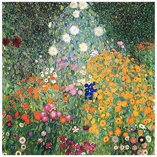 LegendArte Stampe su Tela - Gustav Klimt Giardino Fiorito, cm. 60x60 - Quadro su Tela, Decorazione Parete