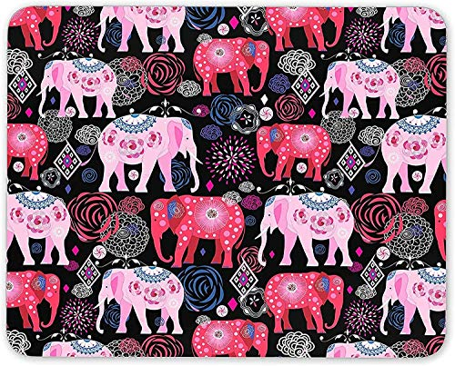 Pretty Pink Indian Elephants Mouse Mat Pad - Flower Girls Gift PC Computer