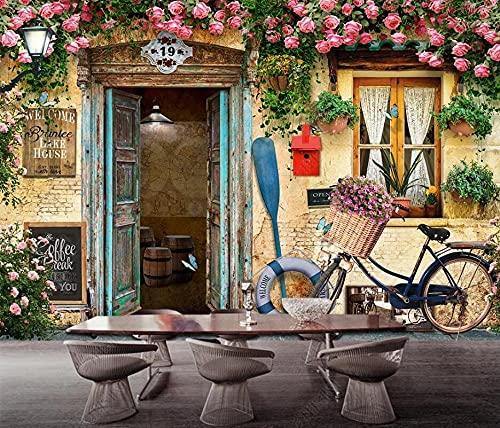 Papel Pintado Pared Papel Bicicleta Retro De Mimbre De Flores Para Puertas Y Ventanas Fotomurales 3d Decoración Papel Tapiz Dormitorio Sala Custom Murales Fondo Pared 150x105cm