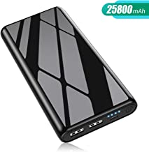 Portable Charger 25800mah, 【Newest Mirror Design】Power Bank Phone Charger High Capacity Fast Charge External Battery Packs with 4 LED Indicator Light for Smartphone,Samsung Android,Table etc