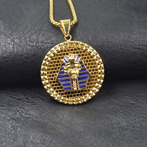 Collar para mujer Collar para hombre Collar con colgante de cabeza de faraón egipcio Collar con colgante de cabeza de faraón de color dorado de acero inoxidable Collar con colgante de diseño de estilo