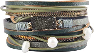 AZORA Leather Wrap Bracelet for Women Multi Layer Druzy Stone Cuff Bracelets with Magnet Clasp Gift for Girls