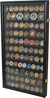 Large Challenge Coin/Casino Chip Display Case Holder Rack Cabinet, Glass Door-Black Finish (COIN2-BL)