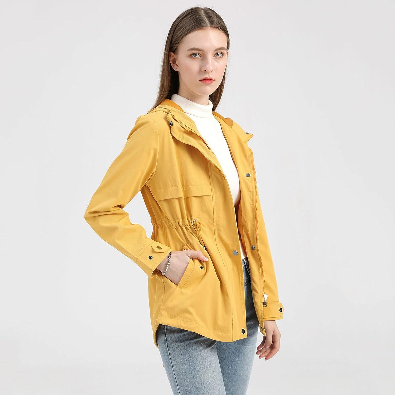 FANGTION Women's Raincoats, Women Lightweight Waterproof Rain Jackets Packable Outdoor Casual Hooded Windbreaker for Camping
