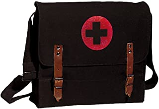 Black Vintage Army NATO Medic Shoulder Messenger Bag w/Red Cross