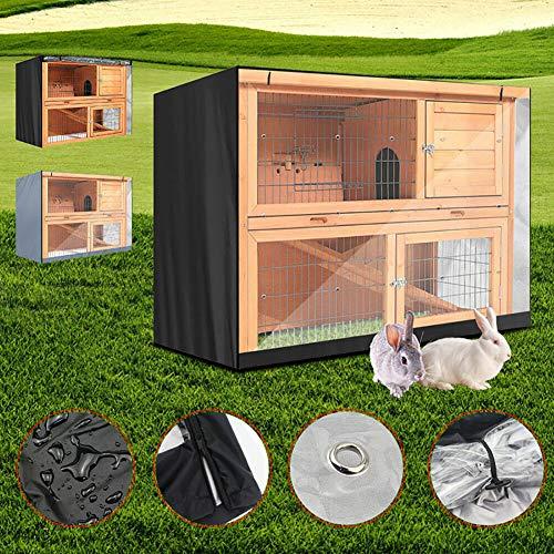 CHB Kaninchenkäfig Staubschutz Tierhaus Regenschutz Sonnenschutz Kunststoff Sichtfenster Volles Design Reißverschluss Verschluss Vor Bissen