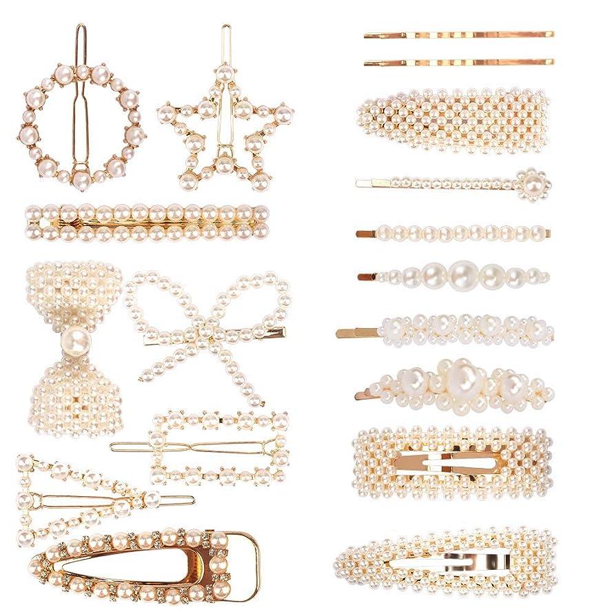 エールリフト魔術ACO-UINT 18パック 樹脂ヘアピン ヘアクリップ ヘアアクセサリー ファッシヨンスウイートスタイリング 人工 真珠アクセサリー ヘアクリップミニ レデスース向け