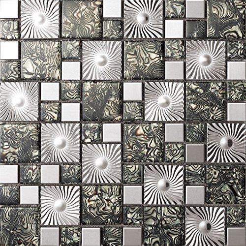 NEW !Lusso Tailles mixtes mosaico quadrato Vetro e acciaio inox mosaico mattonelle arte della parete 300*300mm--Cucina Backsplash/Parete da bagno/decorazione domestica(SA073-38/41/43/45/47)