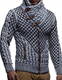 Leif Nelson Men's Knitted Jacket Turtleneck Cardigan Winter Pullover Hoodies Casual Sweaters LN5340; Size L, Grey-Black