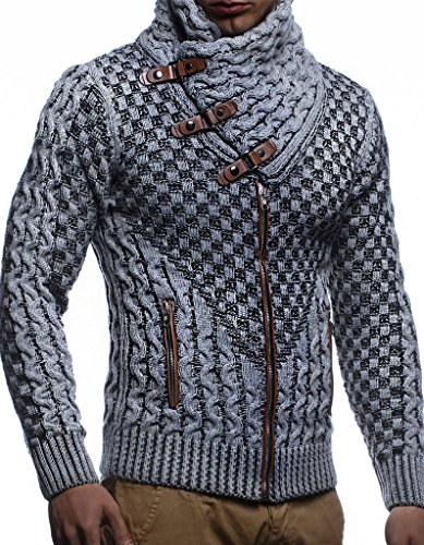 Leif Nelson Men's Knitted Jacket Turtleneck Cardigan Winter Pullover Hoodies Casual Sweaters LN5340; Size XL, Grey-Black