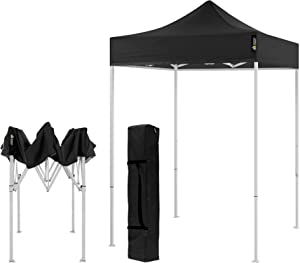 AMERICAN PHOENIX Canopy Tent 5x5 feet Party Tent [White Frame] Gazebo Canopy Commercial Fair Shelter Car Shelter Wedding Party Easy Pop Up (Black)